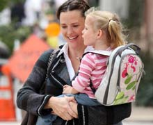 Jennifer Garner enjoys a quiet walk with her daughter.